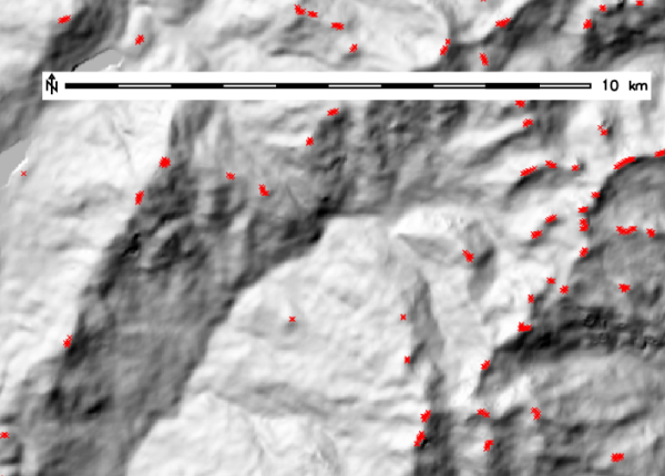 Extraction of summits from EU DEM 25m (with search=11)
