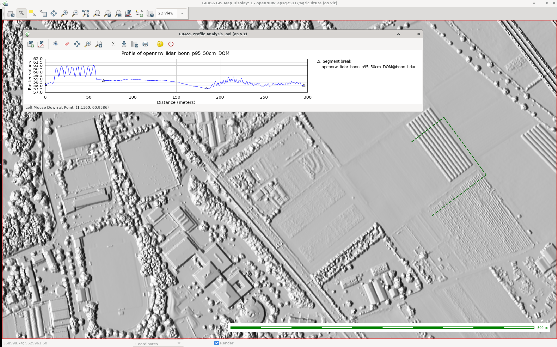 Processed LiDAR data in GRASS GIS (screenshot by @neteler)
