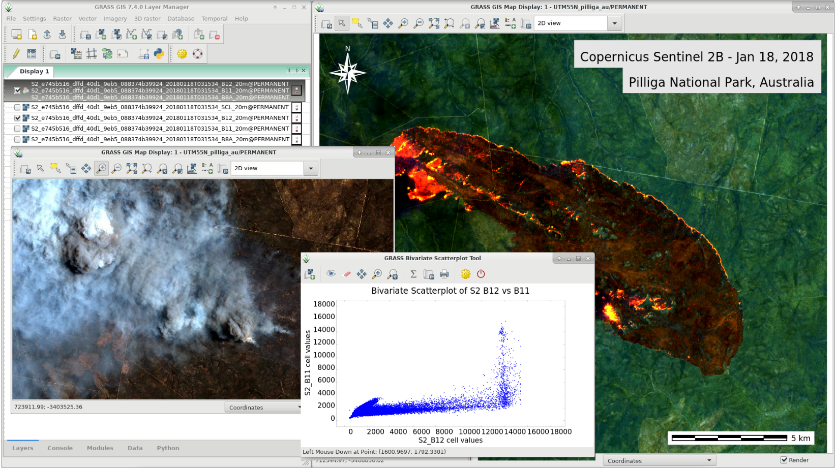 GRASS GIS 7.4.0: Wildfire in Australia, seen by Sentinel-2B