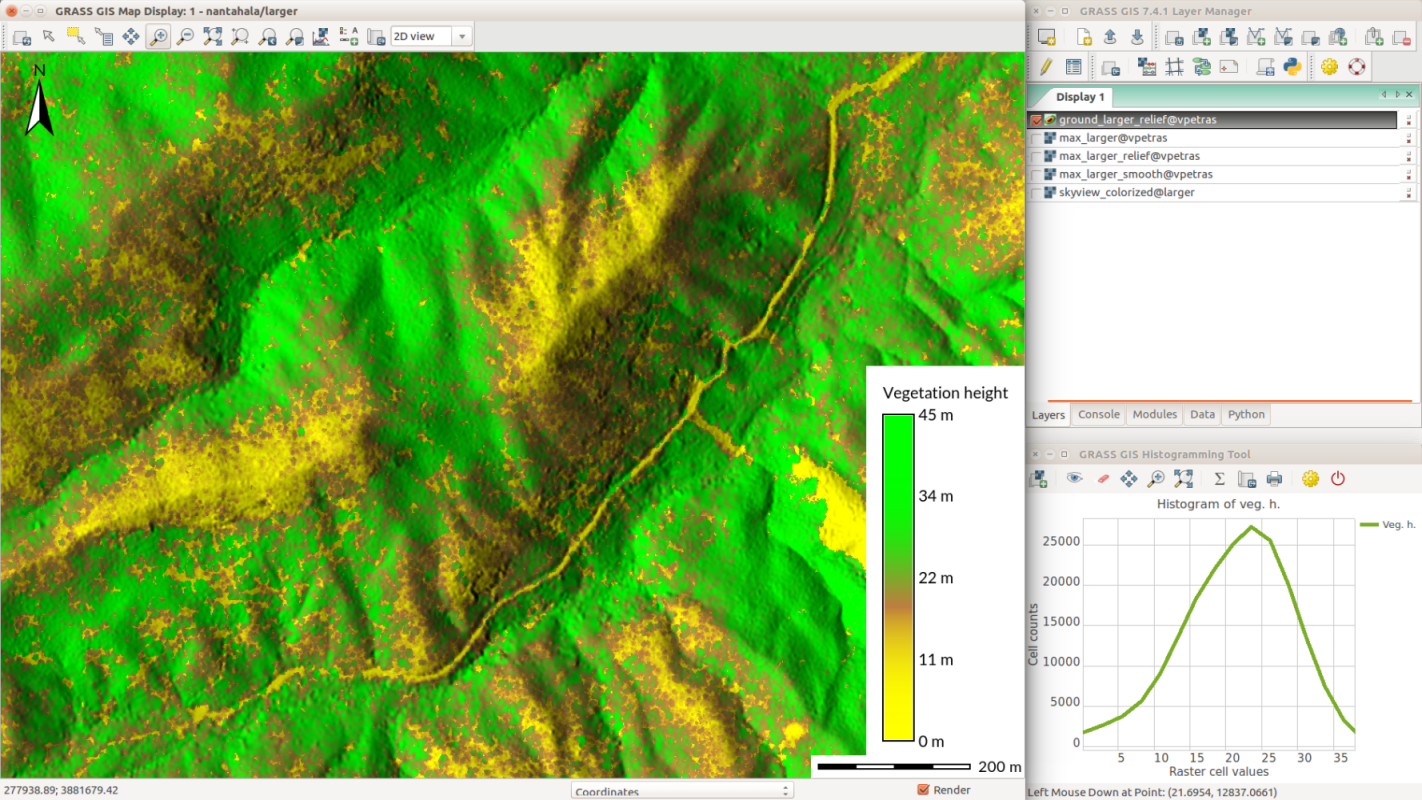 GRASS GIS 7.4.3 data processing