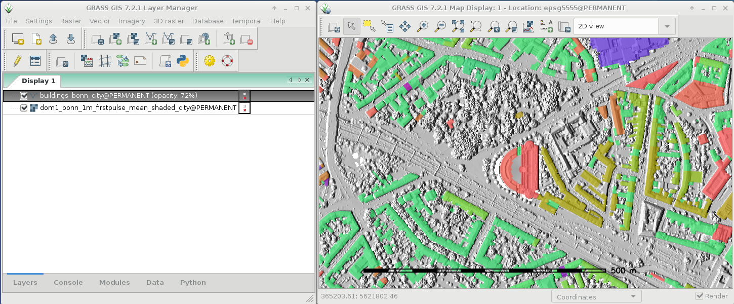 GRASS GIS 7.2.1 in action